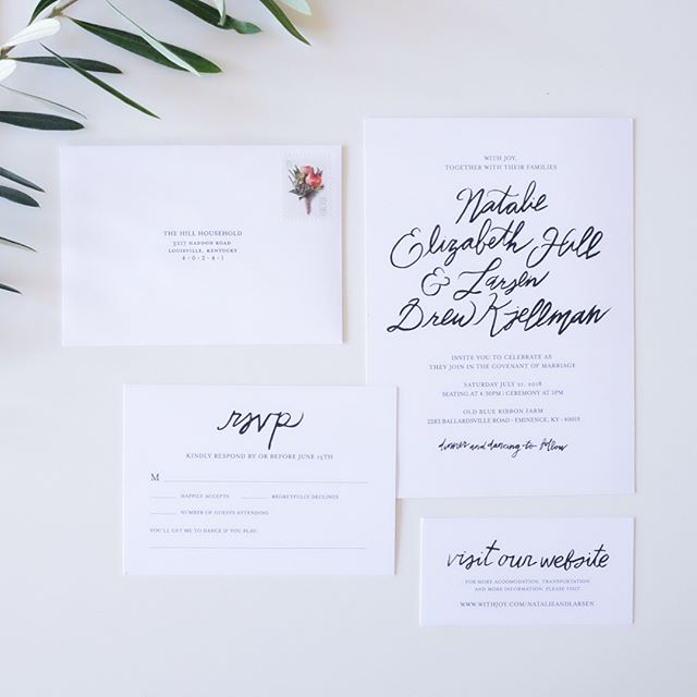 "Less than a month til my little sis says ""I do""! So excited for her and her fiancé! This is the invitation suite I designed for them—they asked for elegant, black & white, with touches of hand-lettering. . . .  #graphicdesign #wedding #invitations #lettering #type #typography #handlettering #invitationsuite"