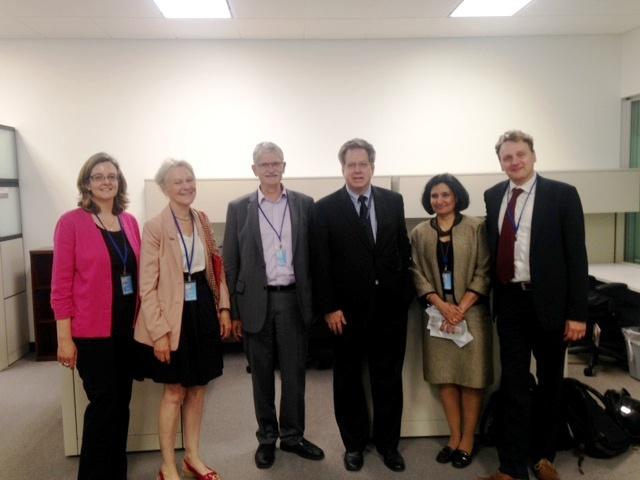 Left to right: Antonia Kirkland (Equality Now),Yvonne Terlington (1 for 7 Billion), Mogens Lykketoft, Bill Pace (1 for 7 Billion),Bani Dougal (Bahai International Community),Volker Lehmann (1 for 7 Billion)