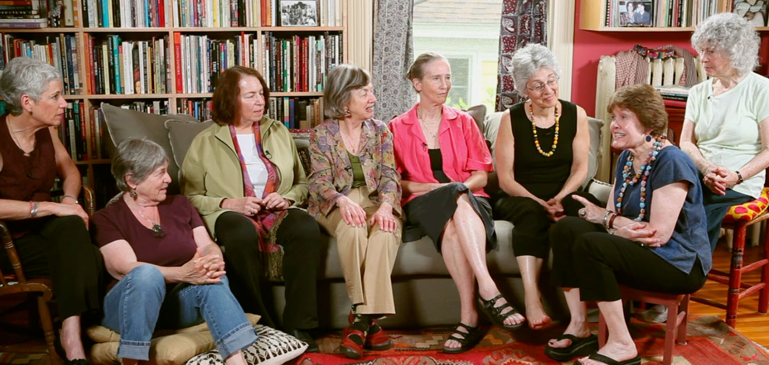 INTERVIEWEES, from left to right: Miriam Hawley, Jane Pincus, Joan Ditzion, Paula Doress-Worters, Wendy Sanford, Judy Norsigian, Vilunya Diskin, Pam Berger.