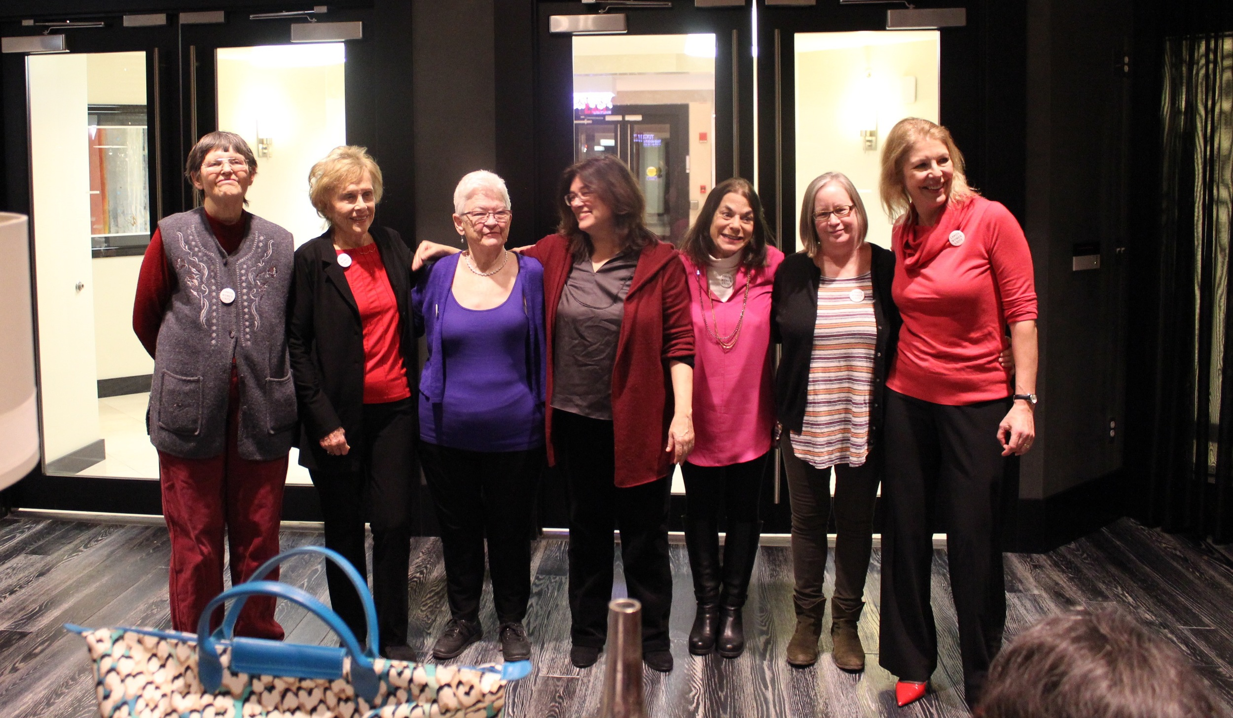 Marlene Sanders' daughter in law, Amy McIntosh and son Jeffrey Toobin kindly hosted a a get-together to celebrate our DC opening. Pictured: Jo Freeman, Marlene Sanders, Mary-Jean Collins, Director Mary Dore, Alice Wolfson, Producer/ Editor Nancy Kennedy and host, Amy McIntosh