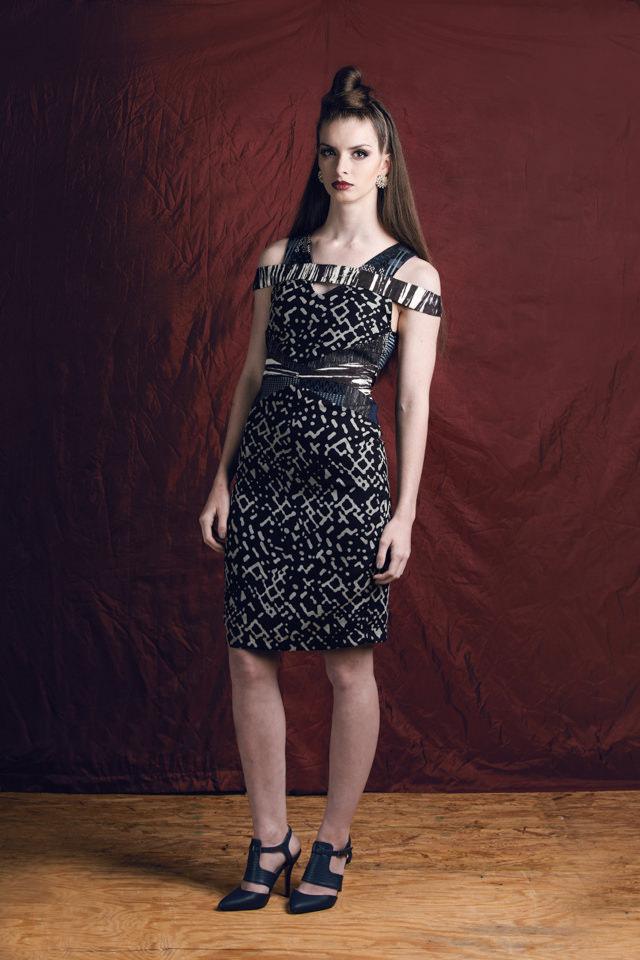 V-neck Abstract Print Colorblock Dress:  Silk chiffon, silk jacquard, & silk twill; silk/viscose lining