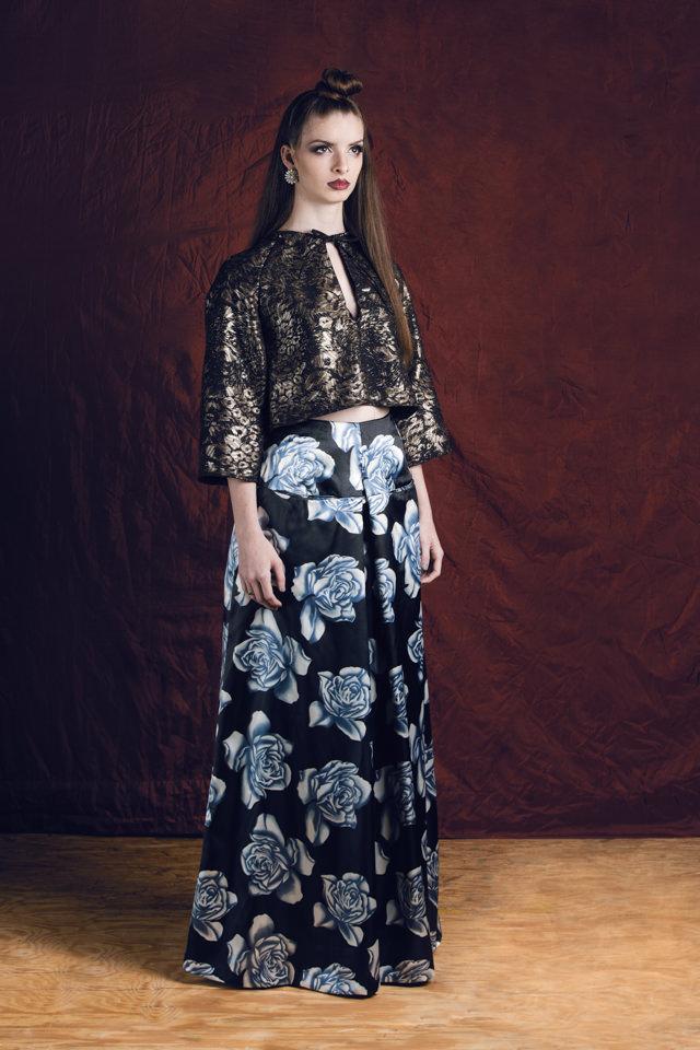 Peephole Raglan Top:  Metallic jacquard   Floral Culottes:  Silk/viscose blend; fully lined