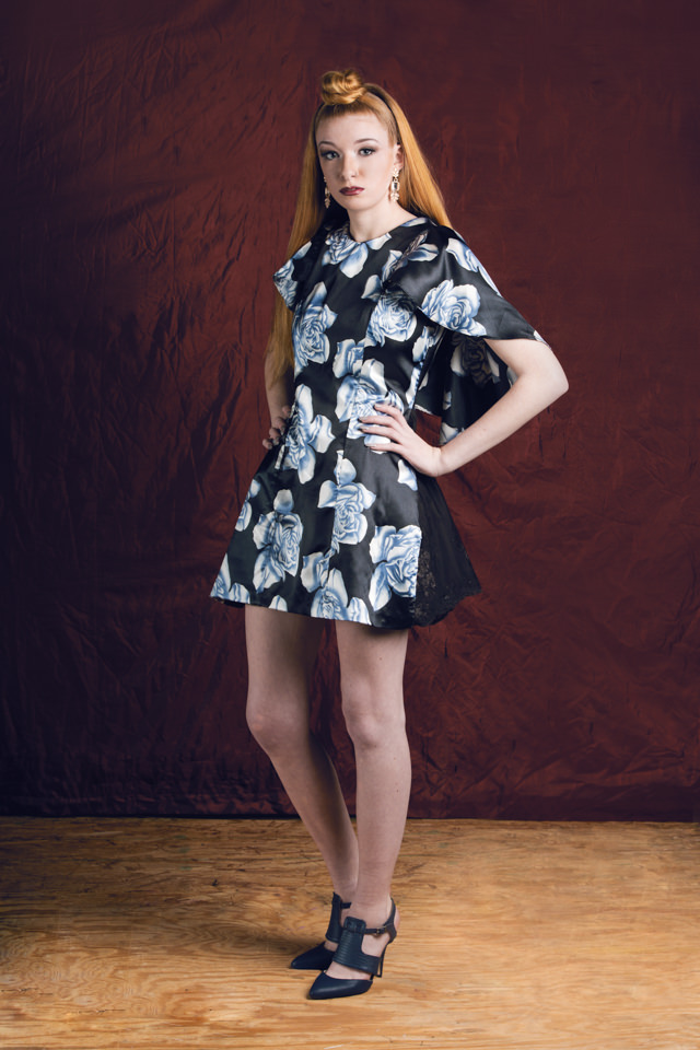 Floral Flounce Dress: Silk/viscose blend, lace mesh inserts; fully lined