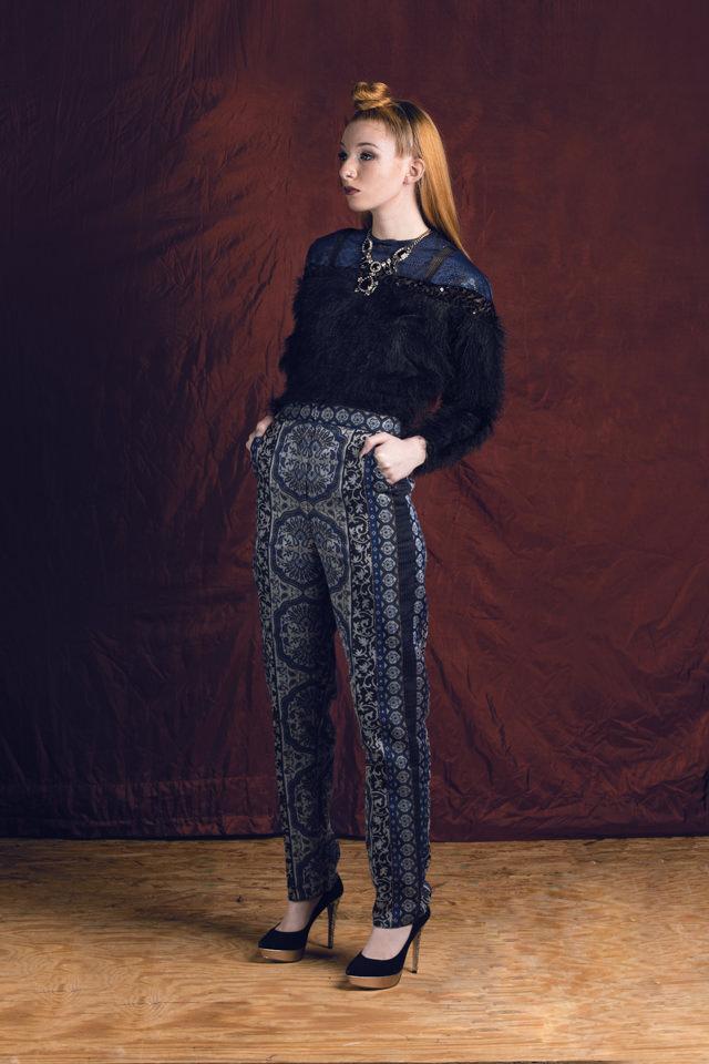 Furry Embellished Top: Eyelash Mesh Knit, faux leather, stretch sequin mesh  Cigarette Pant: Metalllic Damask