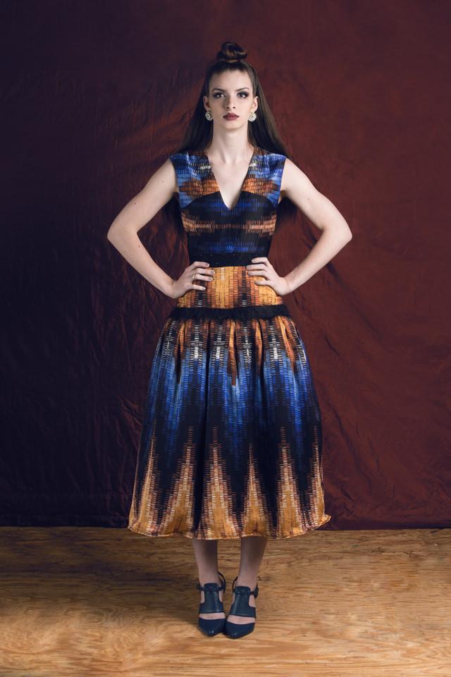 Abstract Printed Dress:  Crepe de Chine, eyelash mesh knit