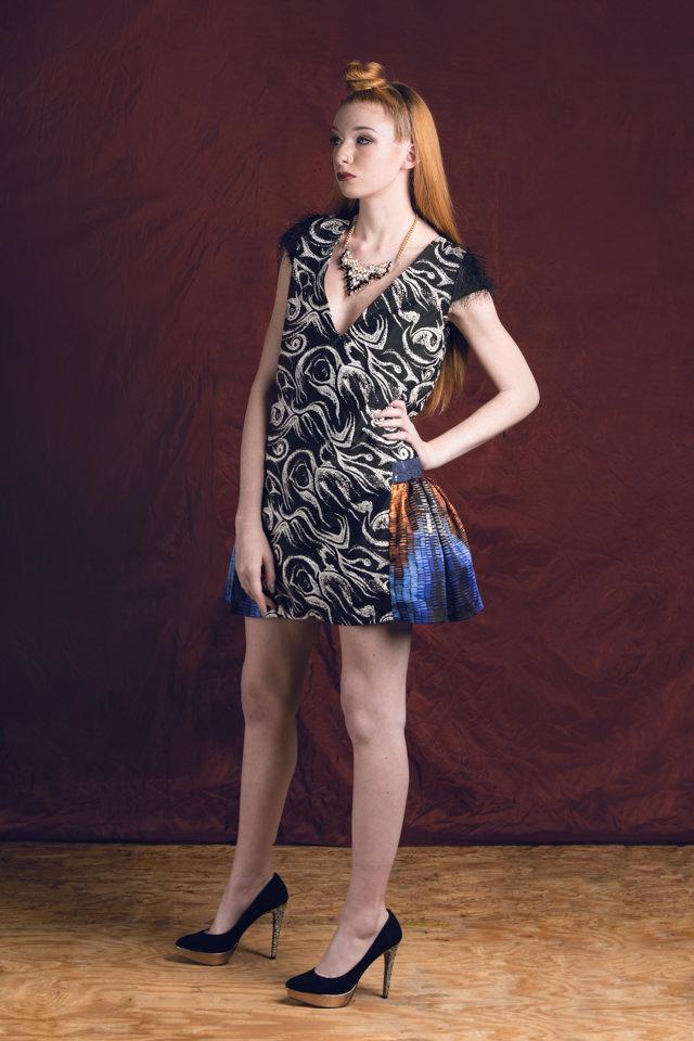 Cap sleeve Dress:  Crepe de chine, eyelash mesh knit