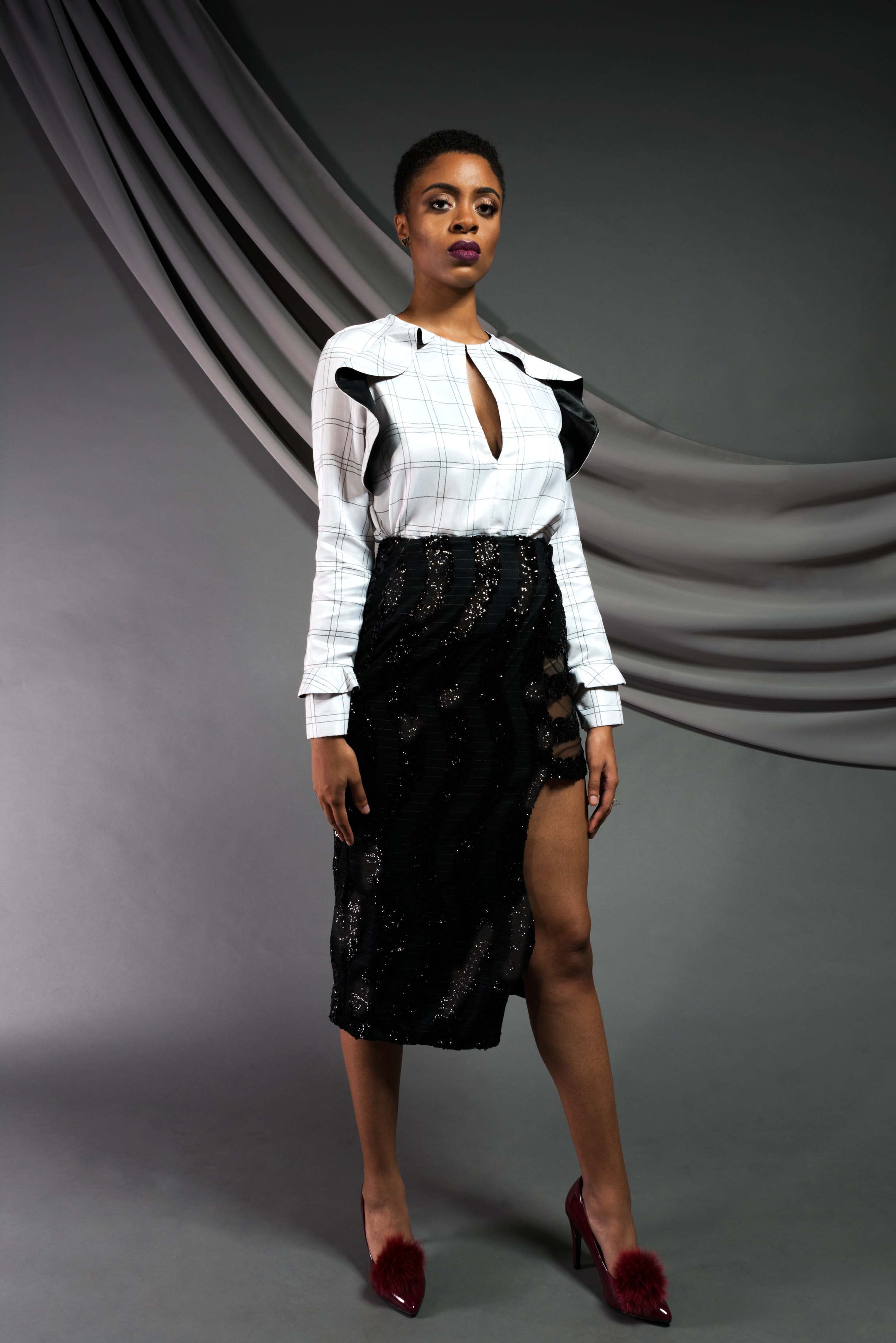 Plaid Ruffle blouse:   Dupioni silk    Sequin Midi Pencil Skirt:  Sequin mesh, wool suiting; fully lined