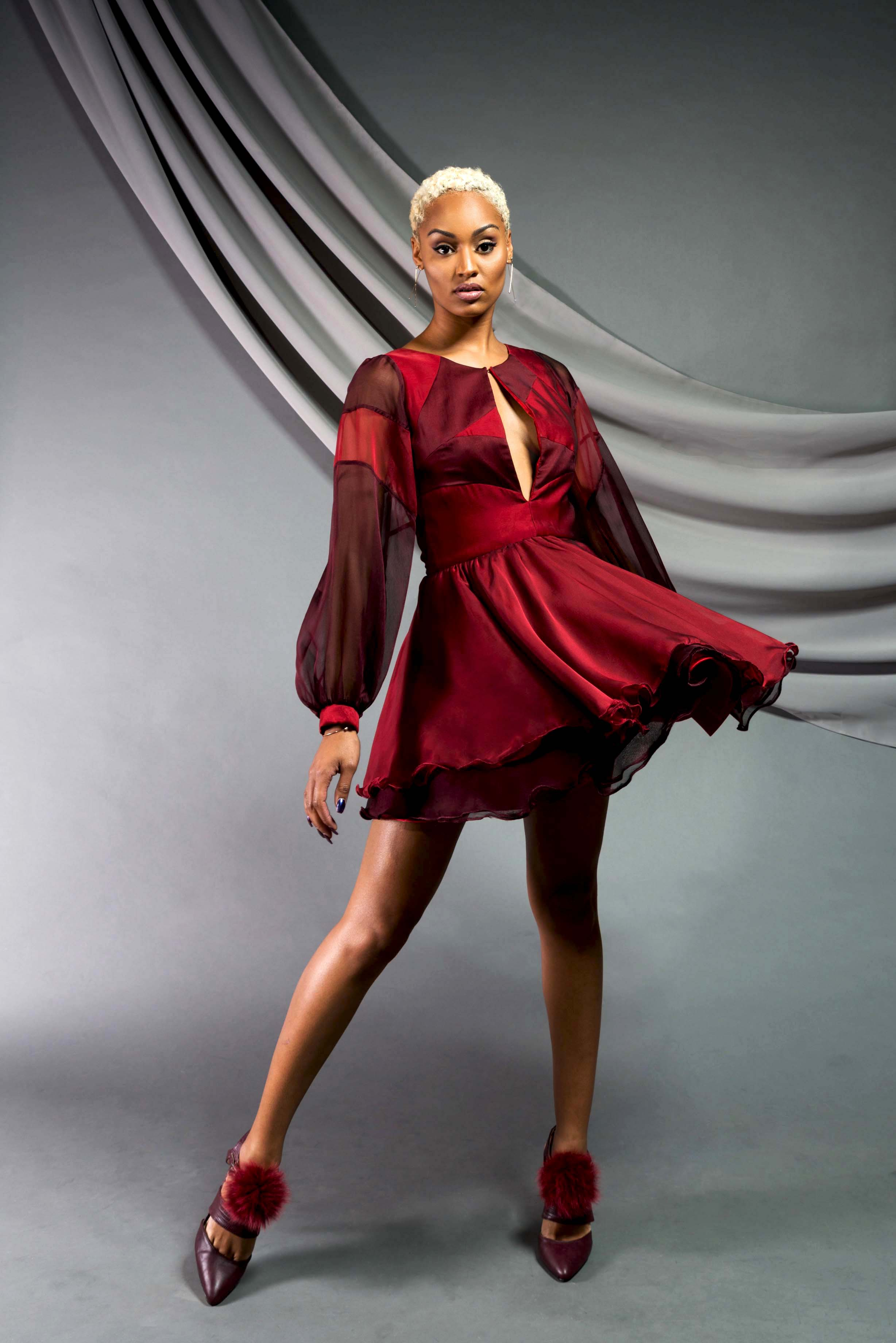 Bell-sleeve Flare Dress:  Chiffon, satin charmeuese
