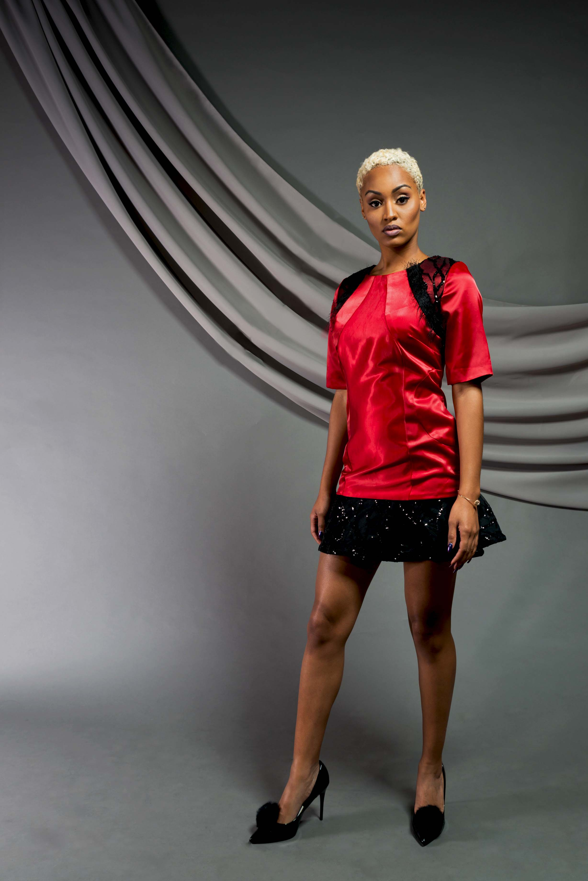 Red Embellished Cocktail Dress:  Satin charmeuse, Eyelash mesh knit, sequin mesh