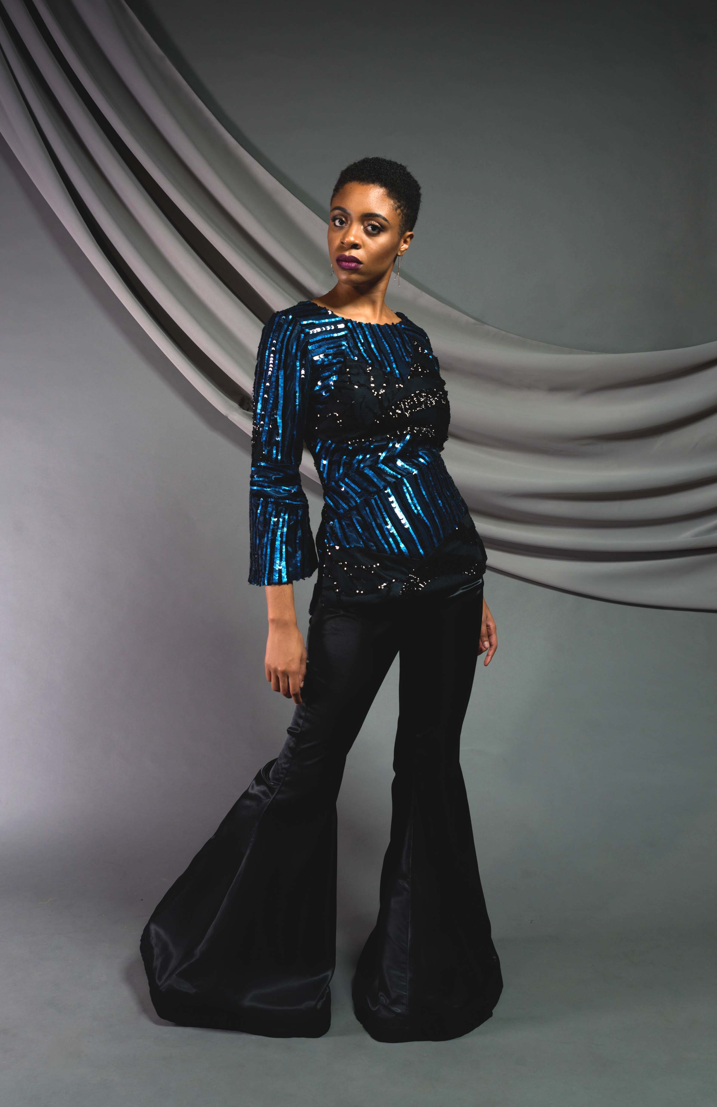 Sequin Tunic:  Sequin mesh, fully lined   Bell bottoms:  Silk shantung