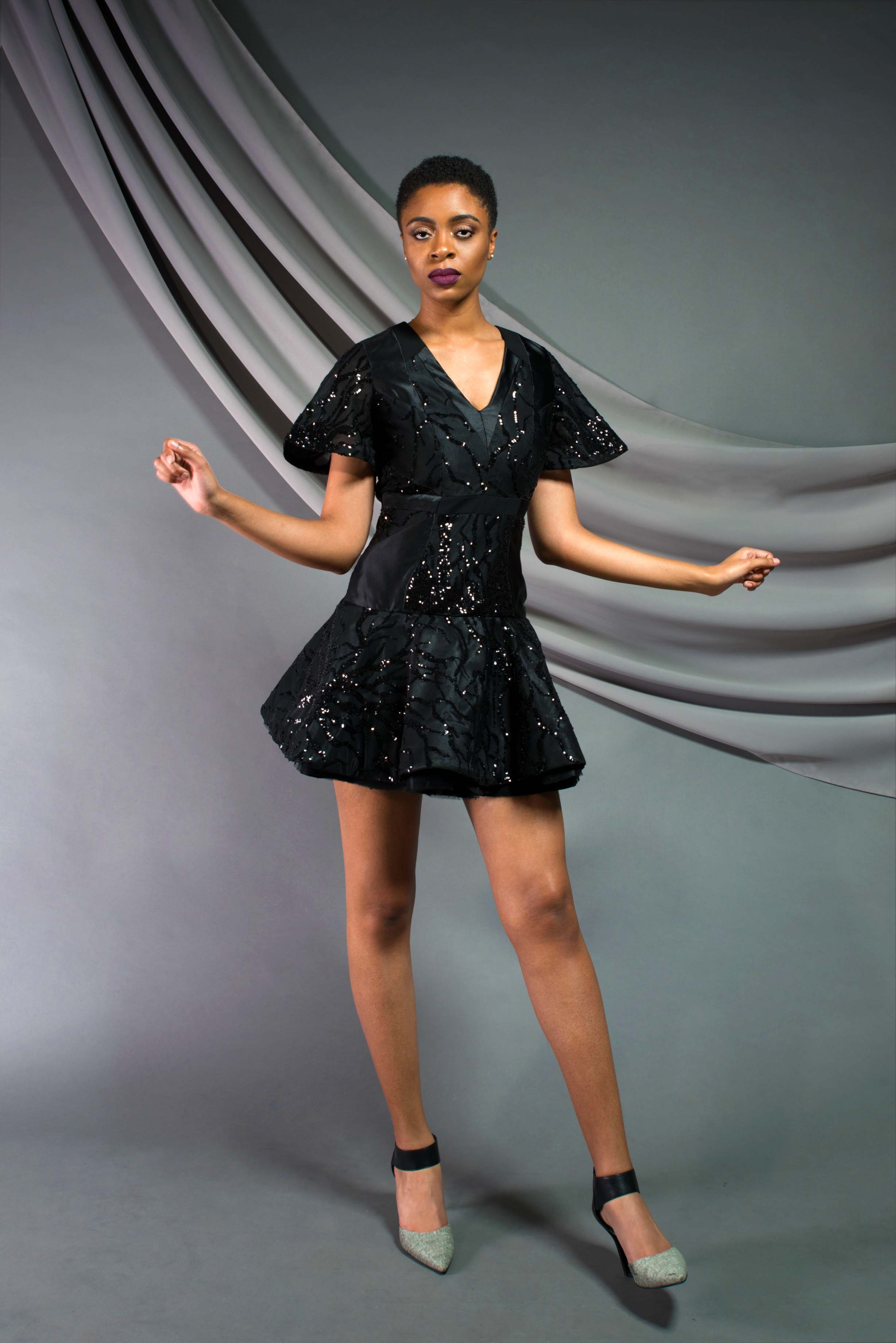 Sequin Flare Cocktail Dress:  Sequin Mesh, silk shantung, tulle