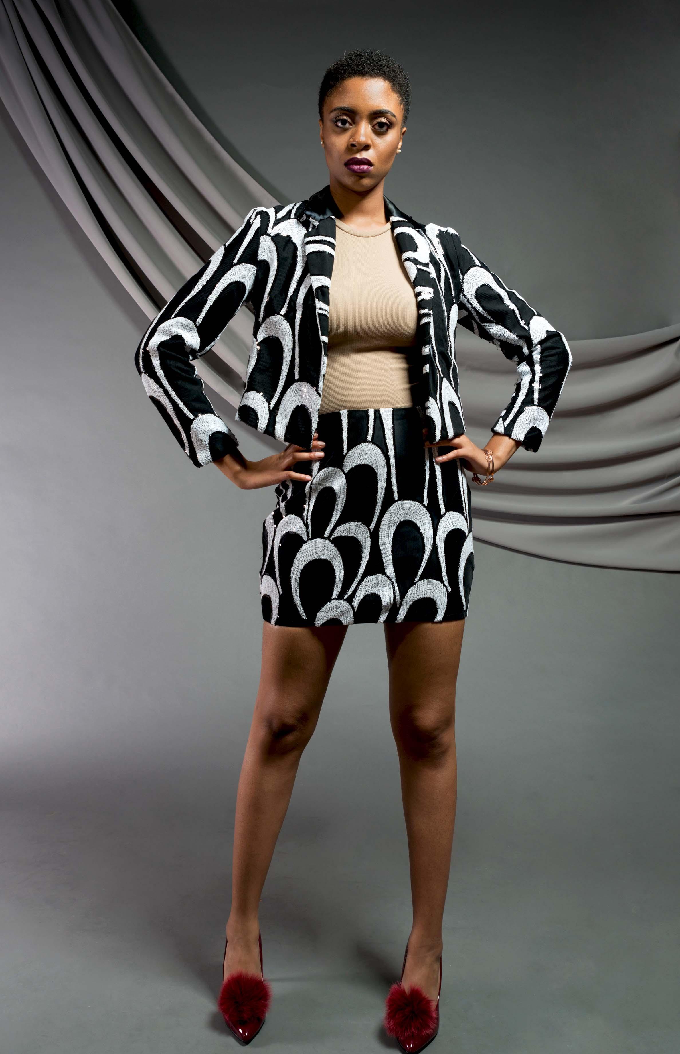 Sequin Blazer & Mini Skirt:  Patterned sequin mesh