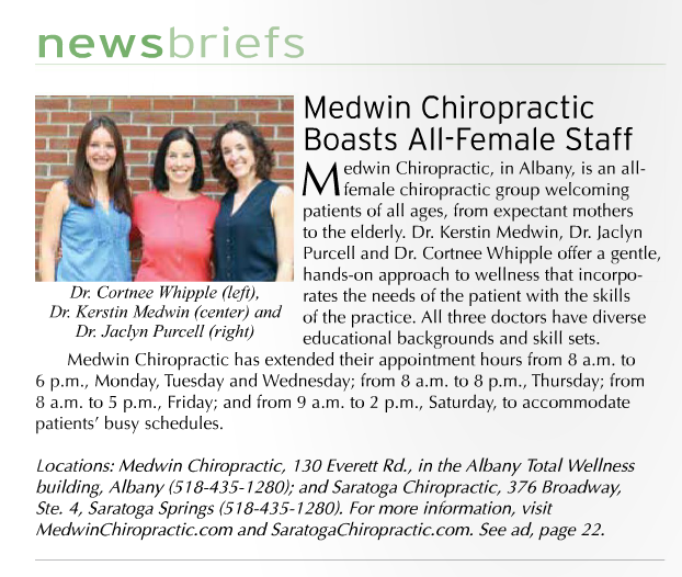 The doctors of Medwin Chiropractic and Saratoga Chiropractic in Natural Awakenings.