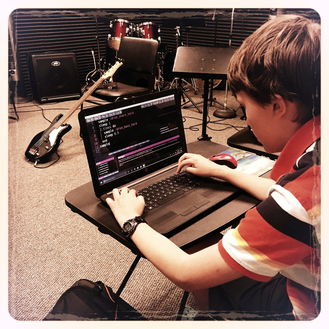 A student composing digital music in our Intro to Live Coding Lab. Photo credit: Robin Lane
