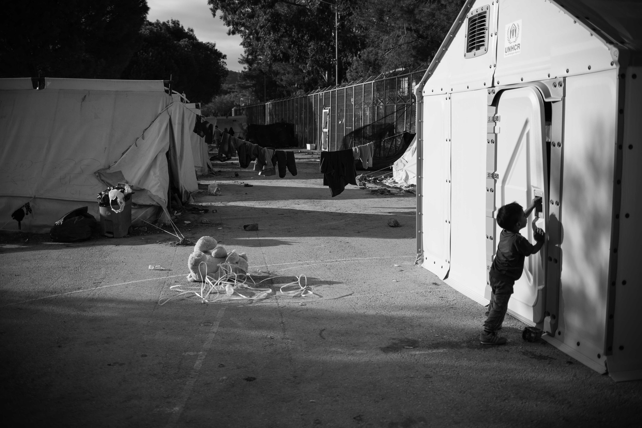 A game of hide and seek with friends in Moria refugee camp.