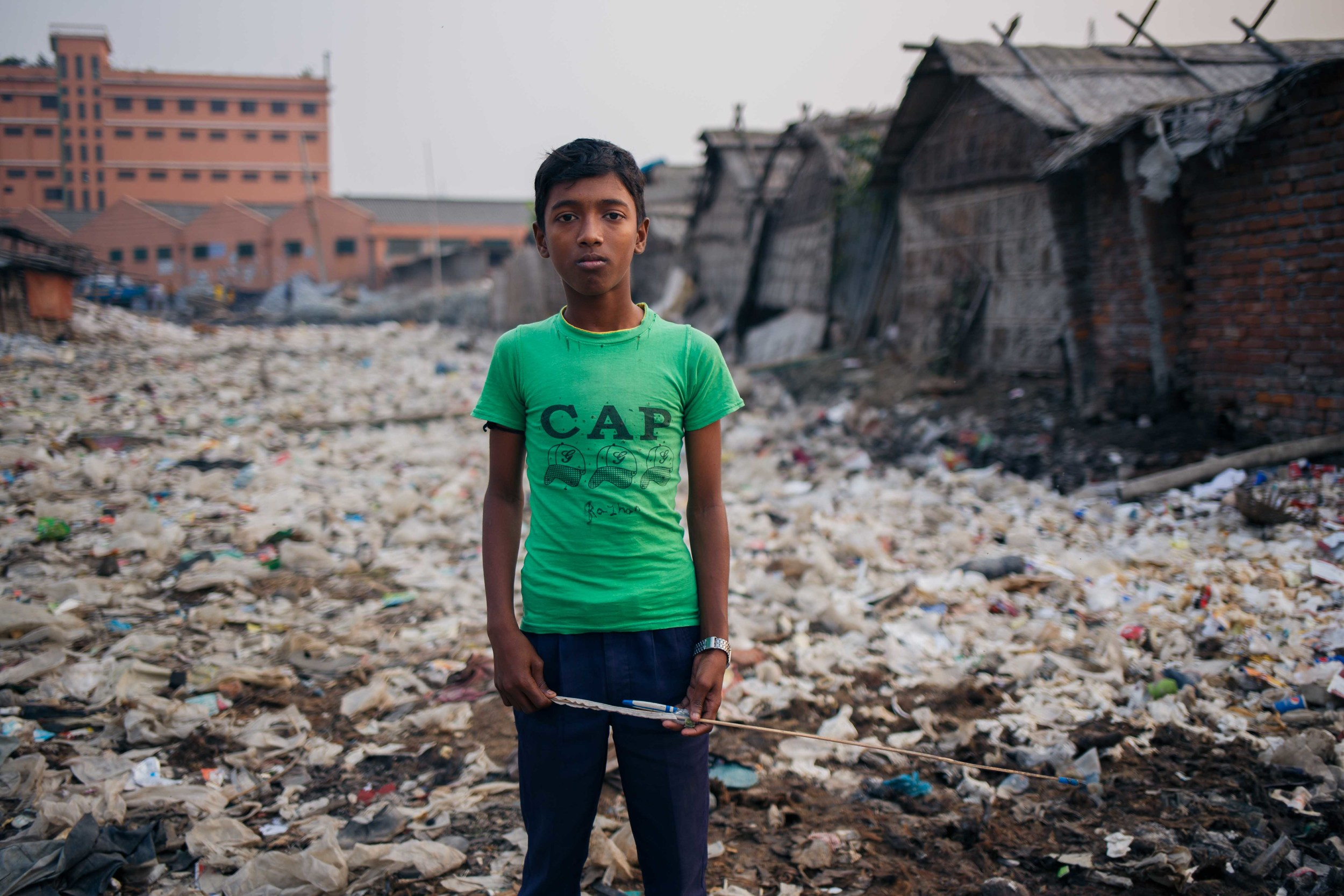 Hassan Ali, aged 11, also collects leftovers from the carcasses of animals used for leather hides. He wants to work in the industry as his family has done for the past few generations and says the move to Savar will be difficult for him as he might have to relocate. He cannot think of other jobs he could do in Hazaribagh should the tanneries move.