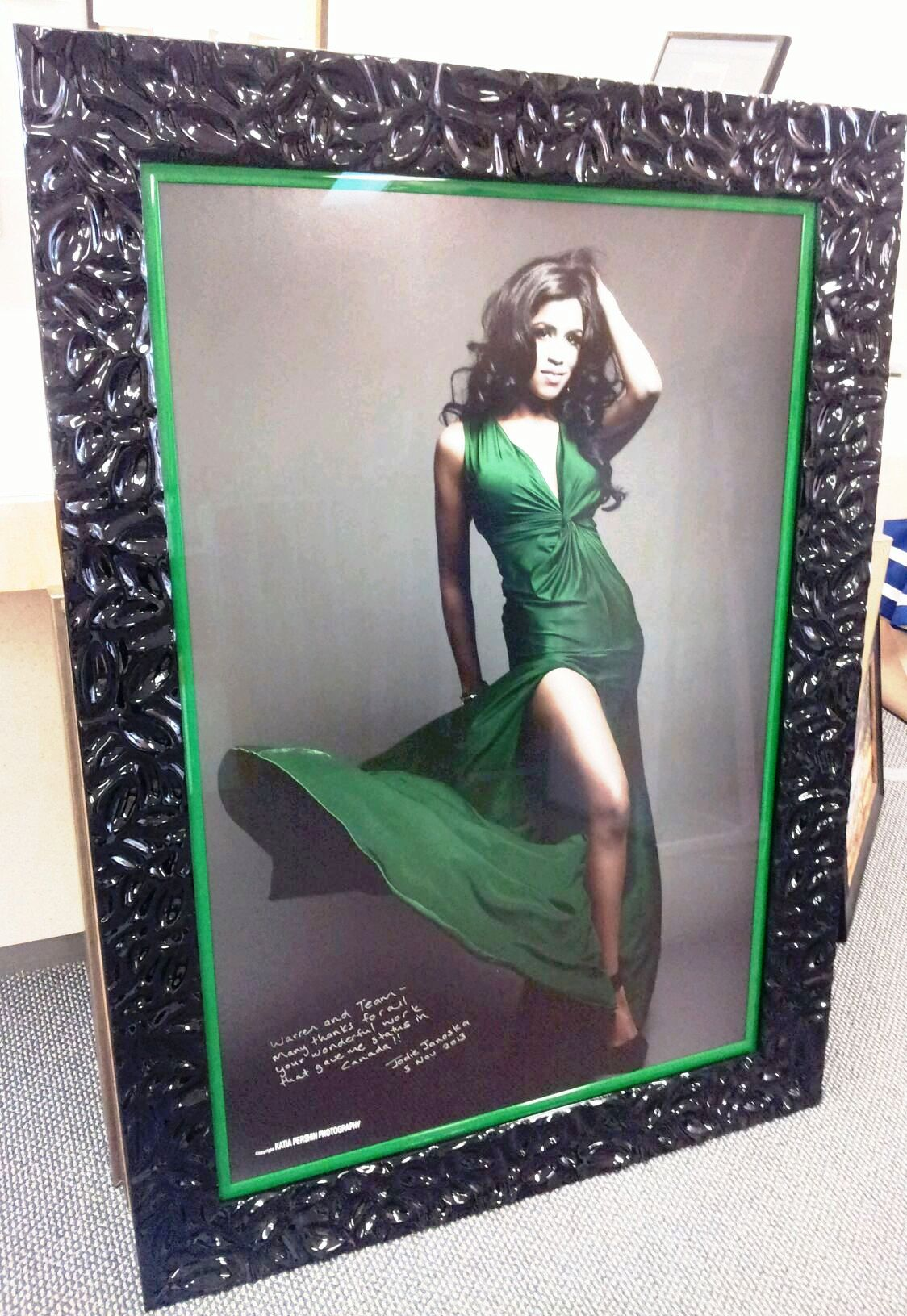 Framed Full Length Portrait of Woman in Green Dress