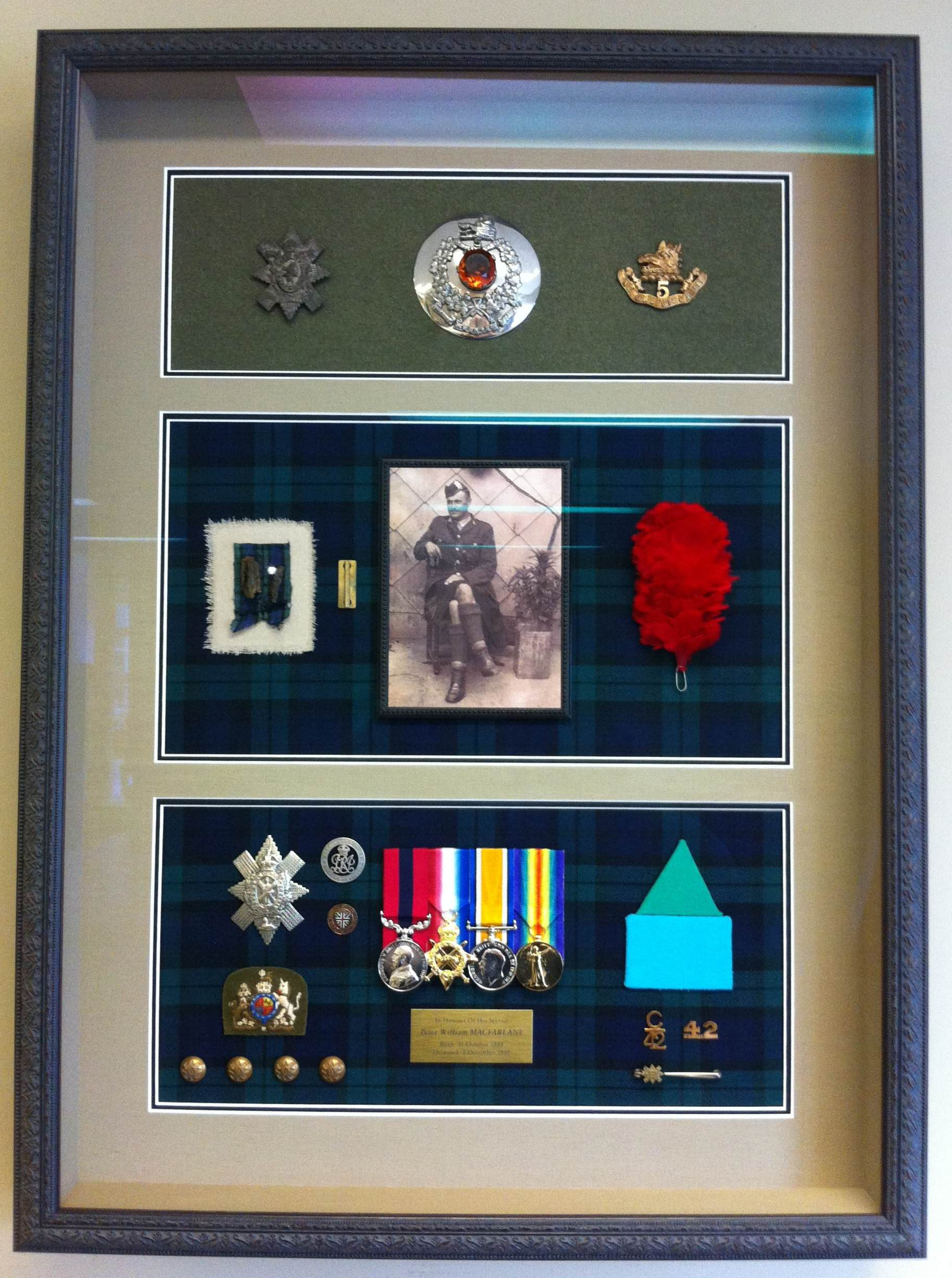 Historical Items in Metal Frame