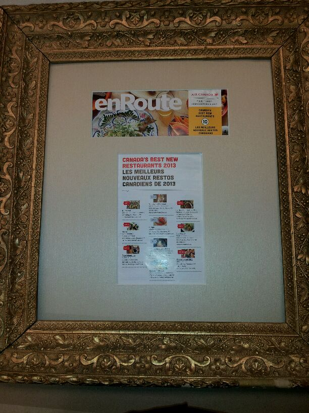 enRoute Canada Best New Restaurant Framed Article