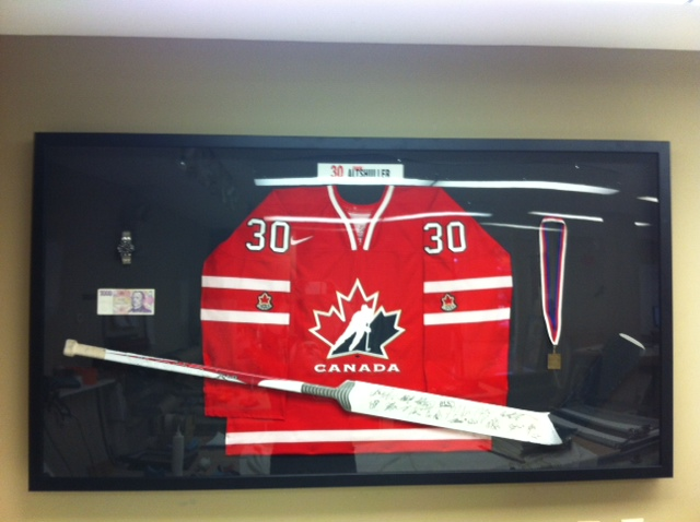 Canadian Historical Goalie Jersey & Stick - Framed