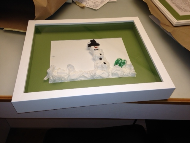 Framed Child's Snowman Art Project