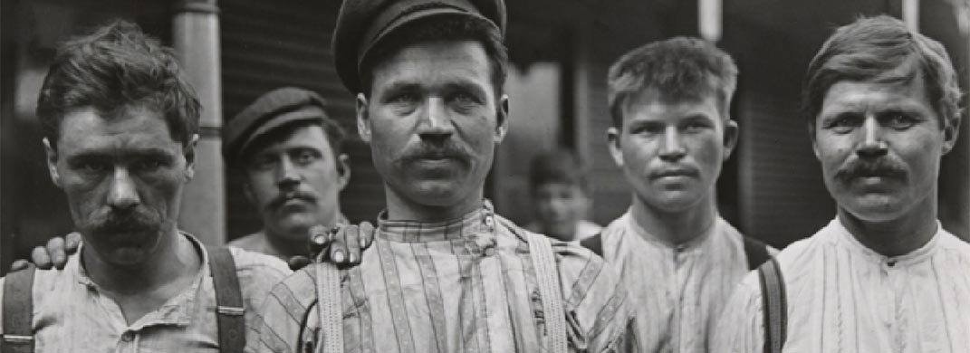 Russian Steel Workers  / Lewis Wickes Hine / 1909 (printed 1942) / Gelatin silver print mounted on paperboard / Smith College Museum of Art, Northampton, Massachusetts. Transfer from Hillyer Art Library