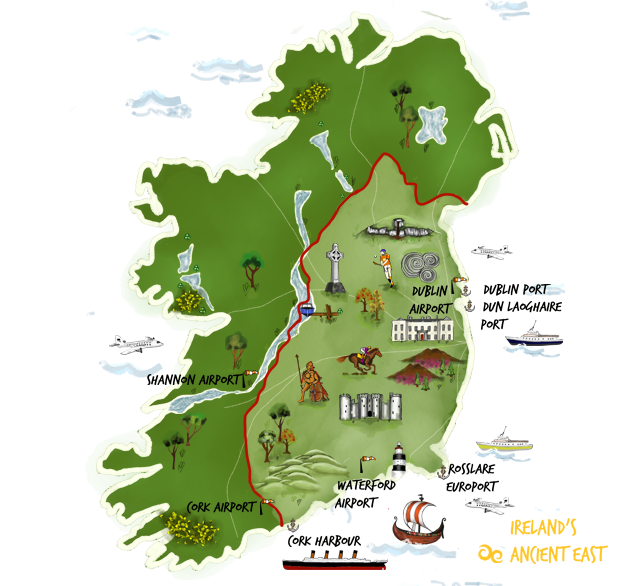 Map and gallery images courtesy of Fáilte Ireland and Ireland's Ancient East.