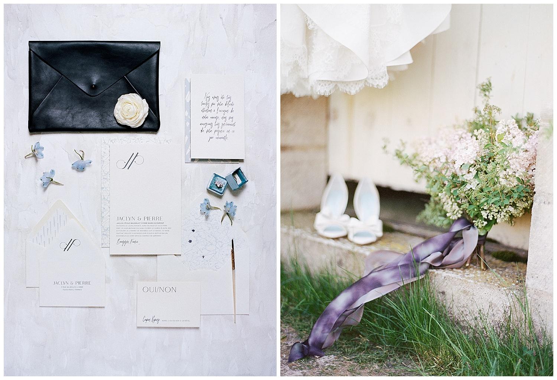 Yonder Design invitation suite, rustic florals with lavender ribbon at Chateau de Varennes; Sylvie Gil Photography