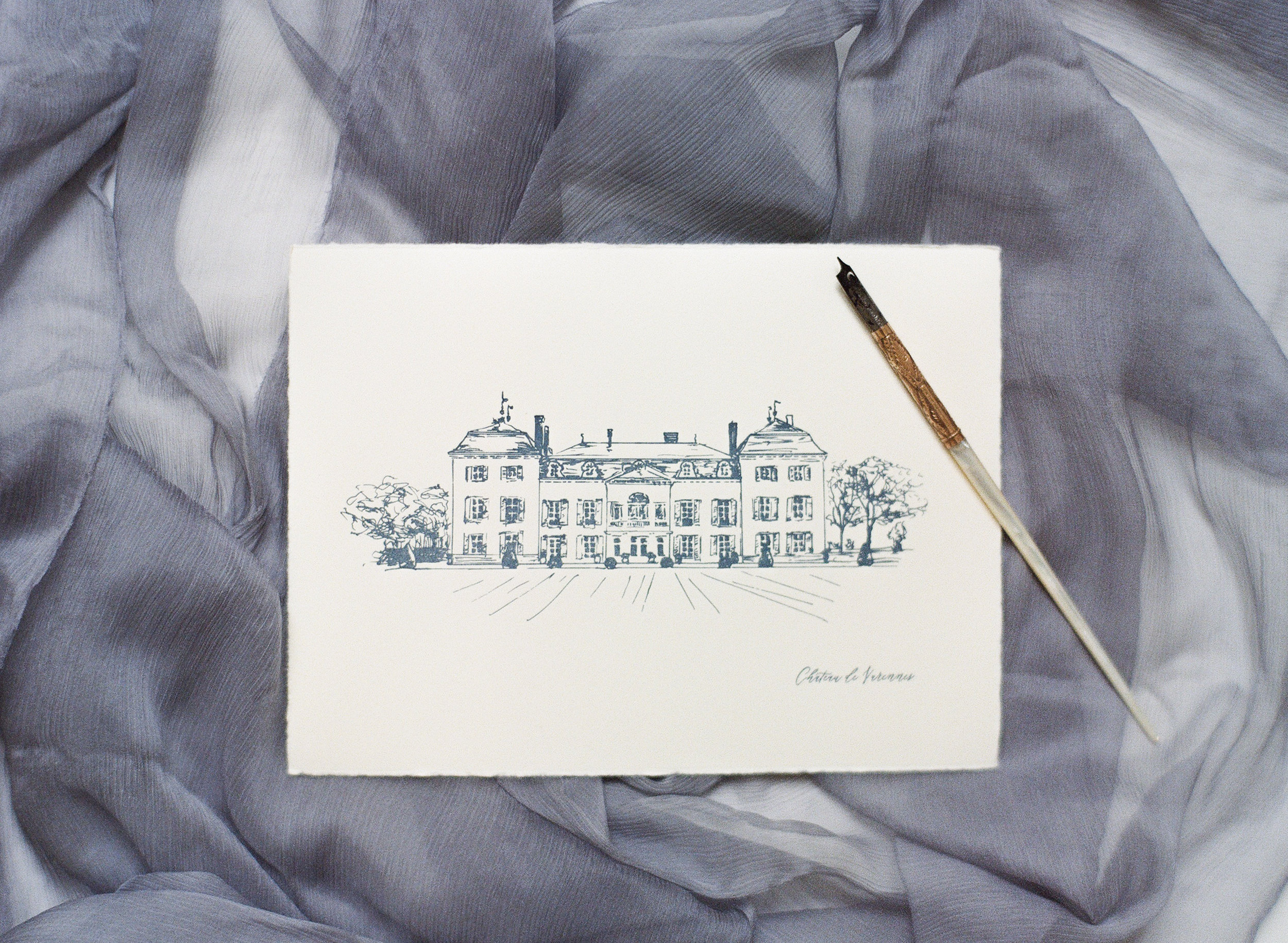 Custom art print showing Chateau de Varennes, created by Yonder Design; Sylvie Gil Photography