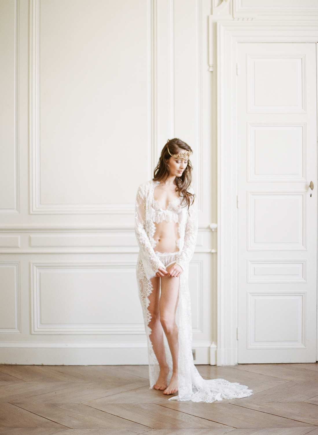 Bride in lingerie at Chateau de Varennes; Sylvie Gil Photography