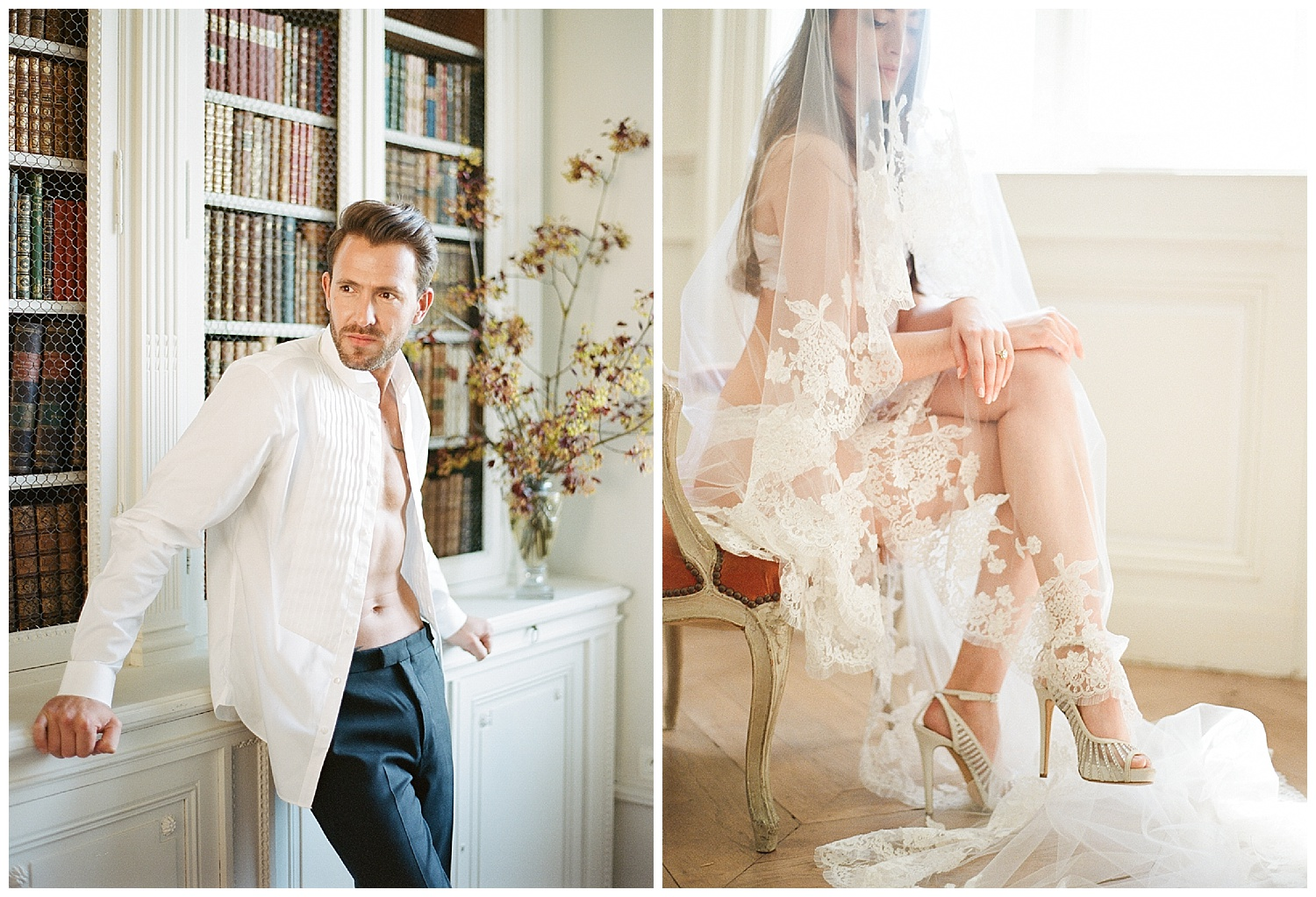Bride and groom boudoir before the wedding ceremony; Sylvie Gil Photography