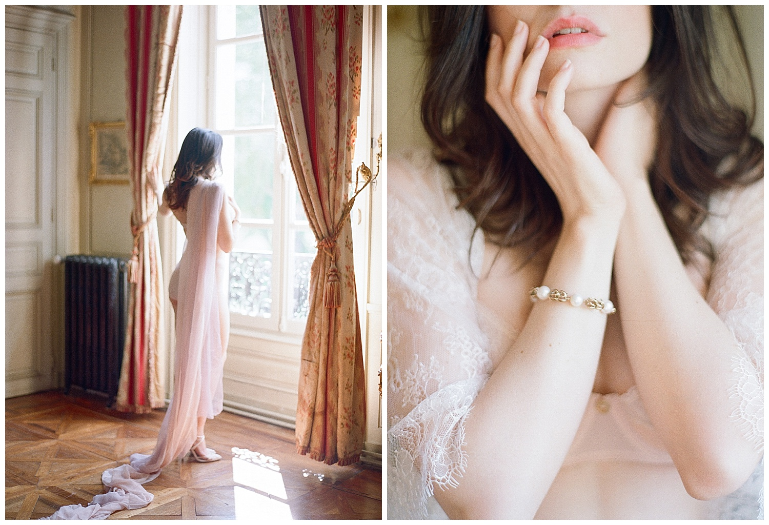 Details from a boudoir shoot at Chateau Varennes during the 2017 Workshop; Sylvie Gil Photography
