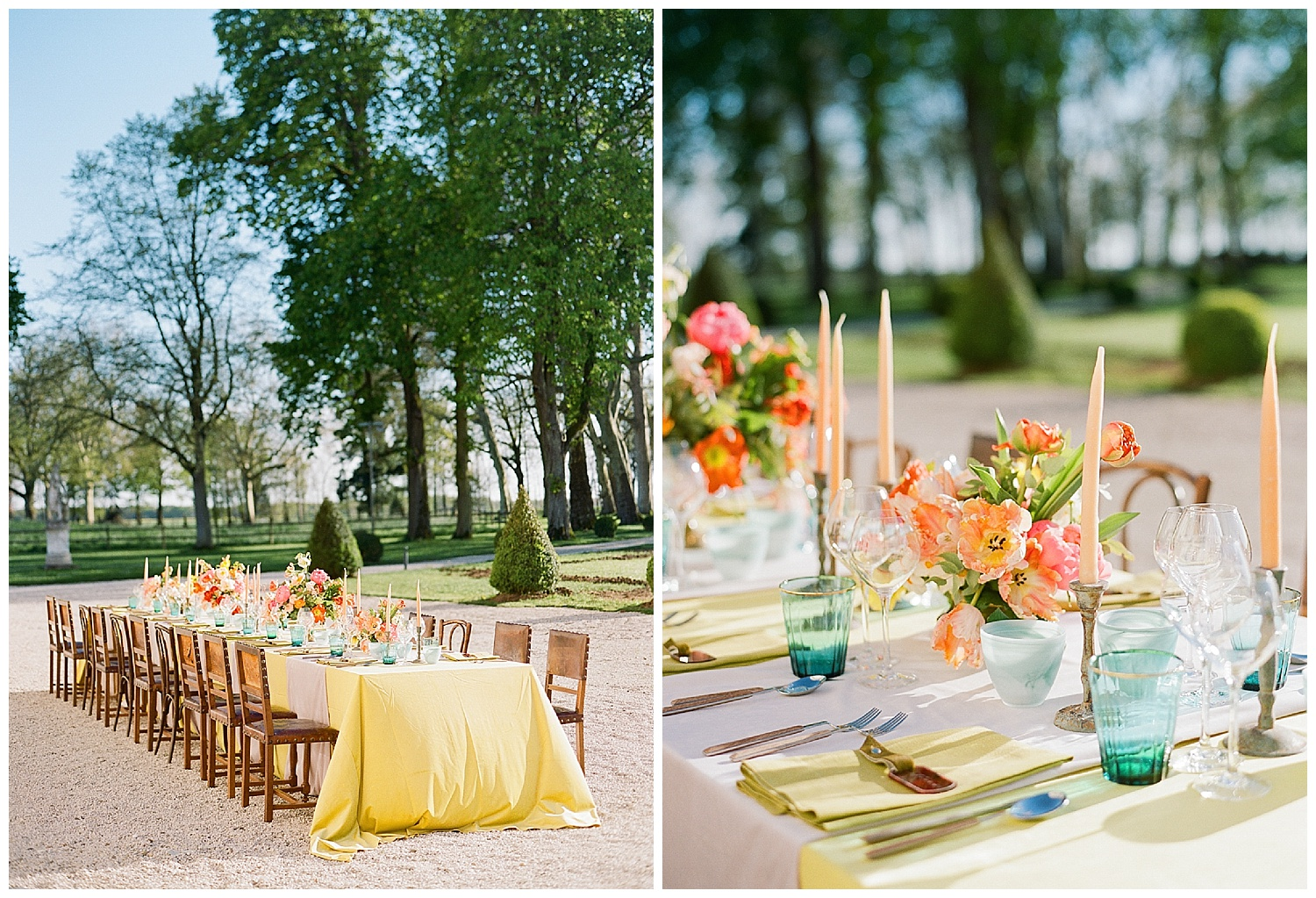 Jewel-toned welcome dinner table at Chateau de Varennes; Sylvie Gil Photography