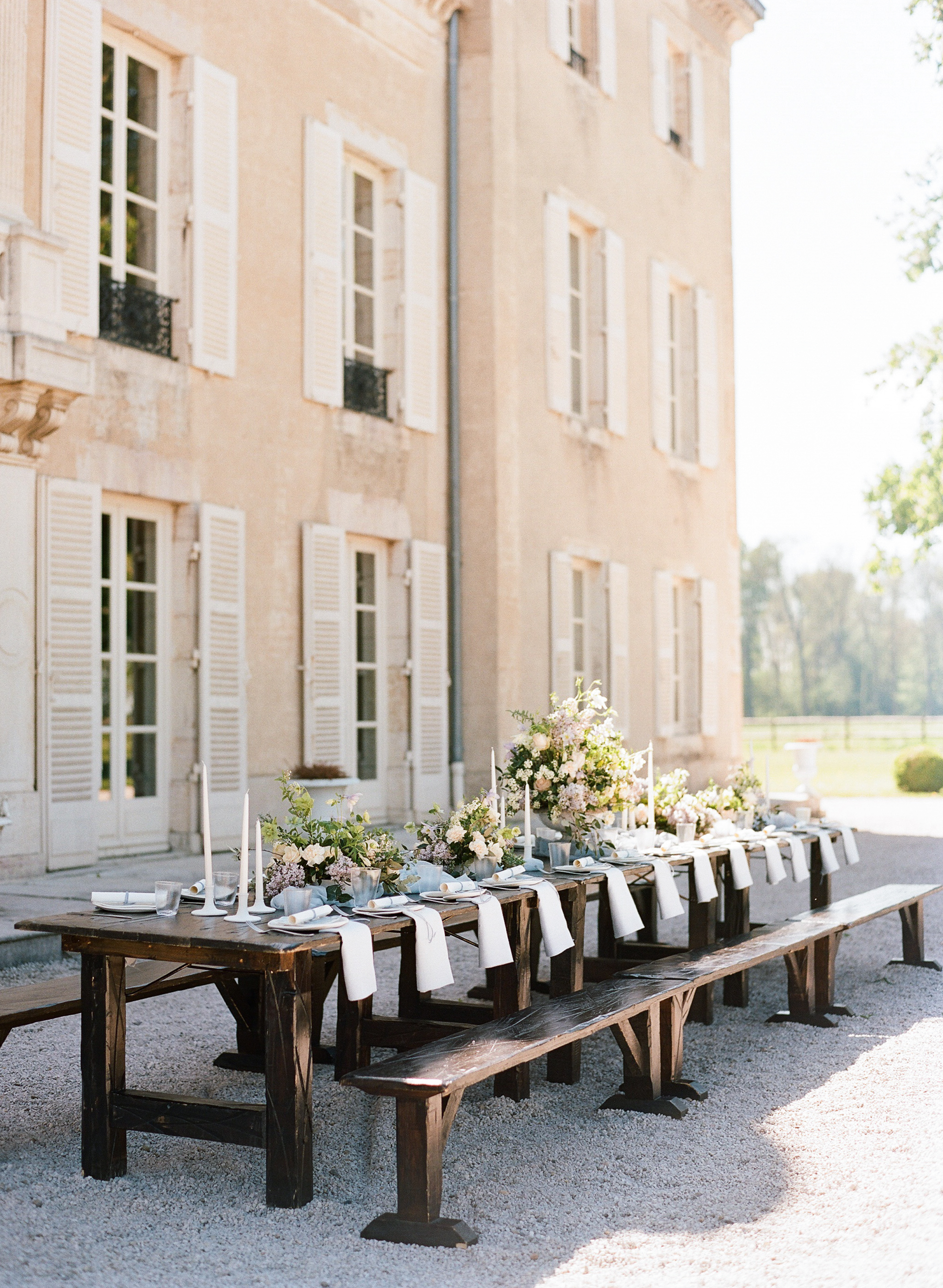 Rustic wood reception table at the 2017 Workshop at Chateau de Varennes; Sylvie Gil Photography