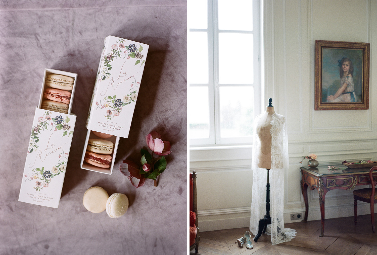 French macarons and a boudoir gown at Chateau de Varennes in Burgundy, France; Sylvie Gil Photography