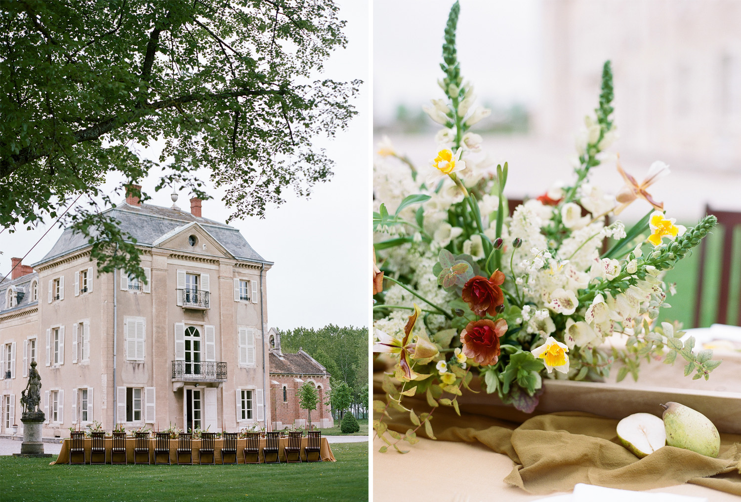 Burgundy, cream, and mustard florals decorate a long reception table at Chateau de Varennes; Sylvie Gil Photography