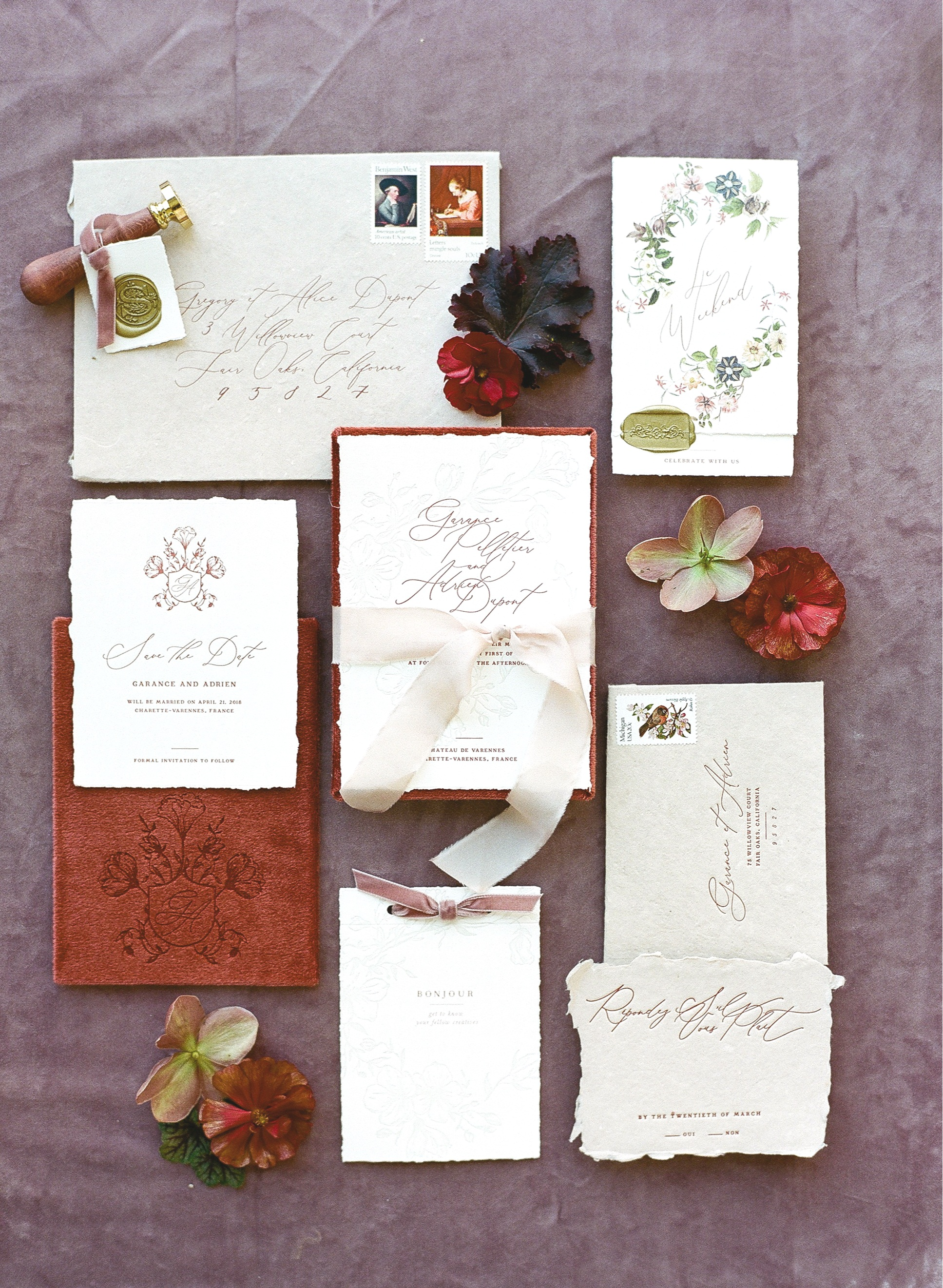 A rustic invitation suite designed with rich fabrics and colors; Sylvie Gil Photography