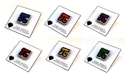 Cross stitched  Pi  pins from The Nerd Stitch Shop.