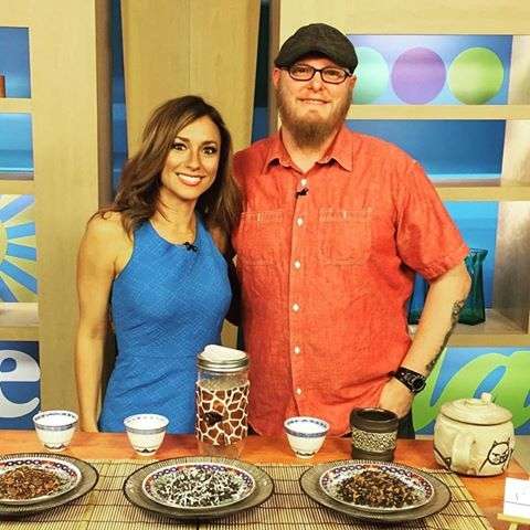 Tea Dude with TV anchor Natalie Herbick on FOX 8's New Day Cleveland, earlier this year:  http://fox8.com/2016/06/30/tea-with-a-spicy-kick/