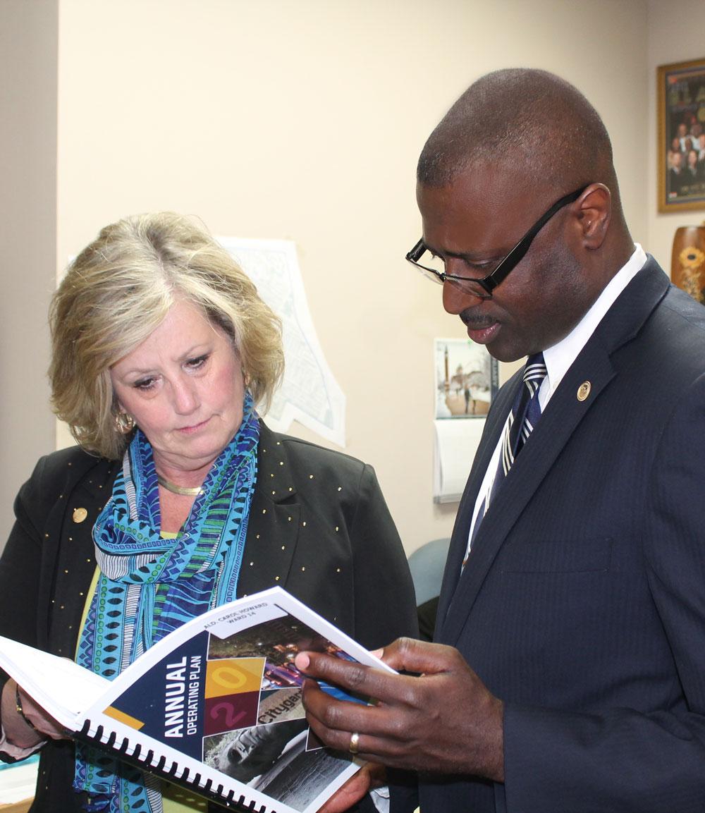 Discussing Budget Bill with Alderwoman Carol Howard