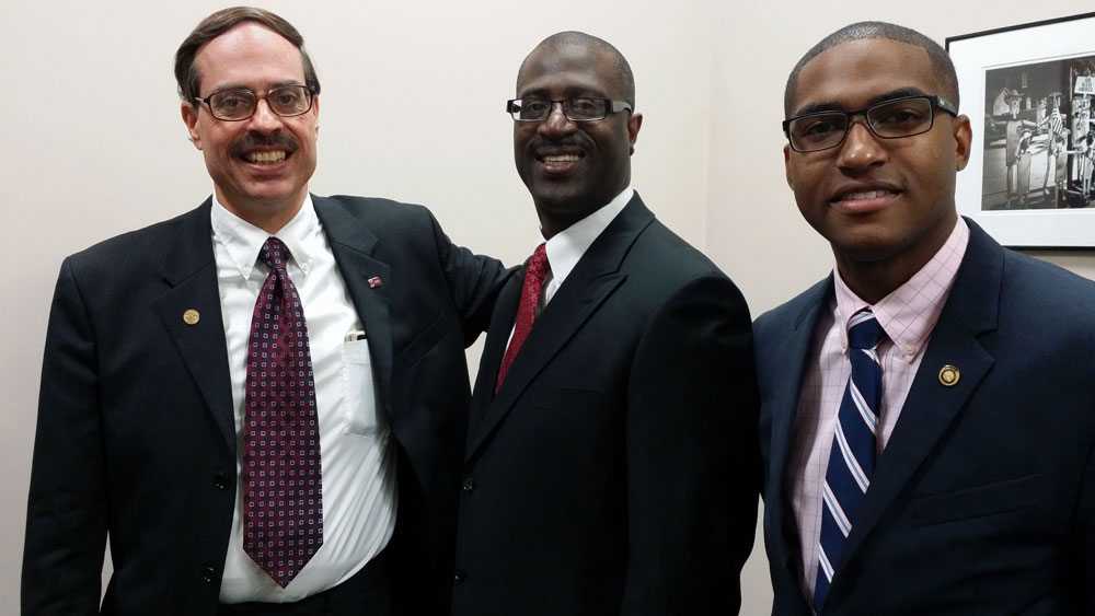 Jeffrey hanging out with Alderman Craig Schmid and State Rep. Joshua Peters