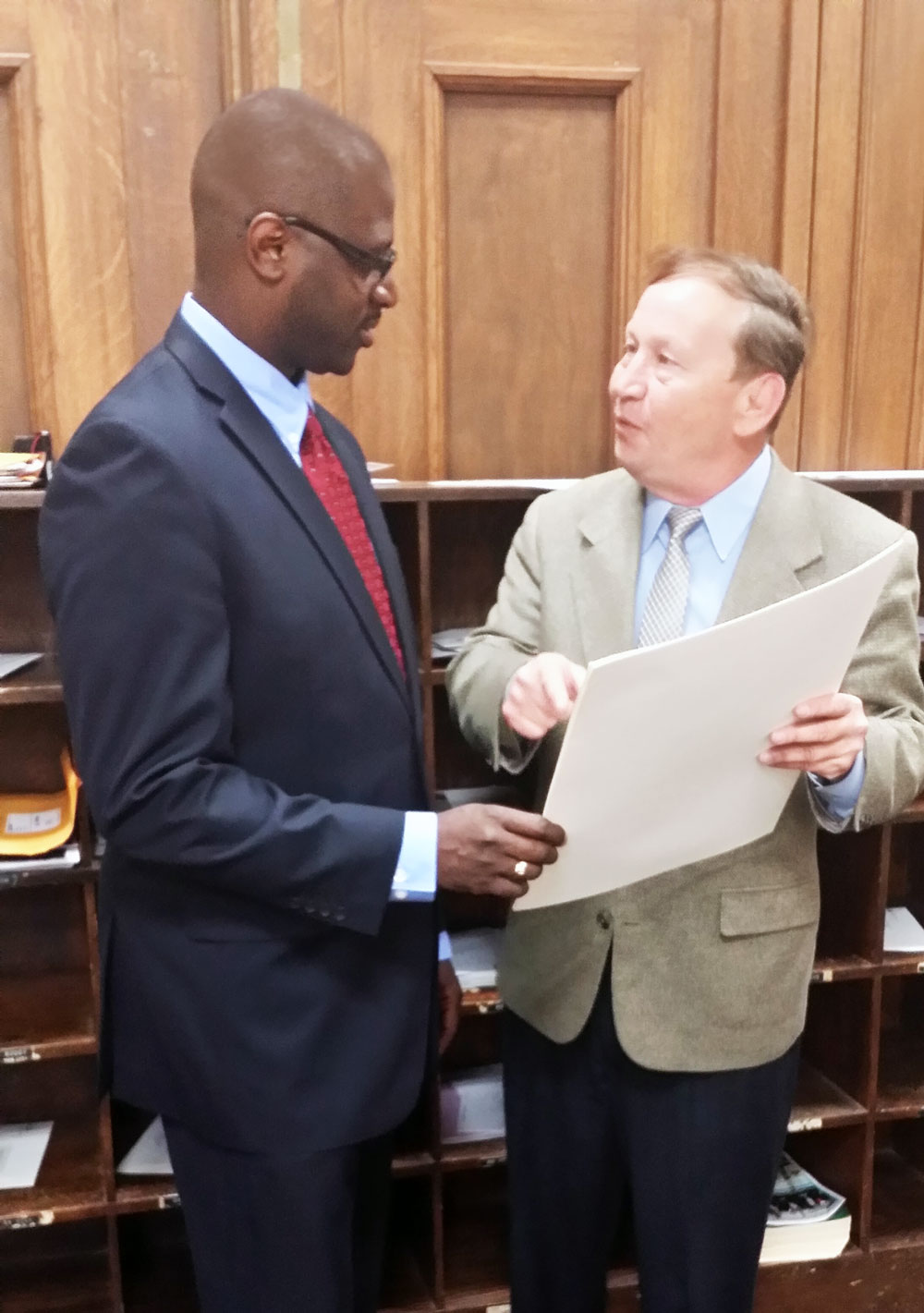 Discussing policy with fellow Alderman Stephen Conway