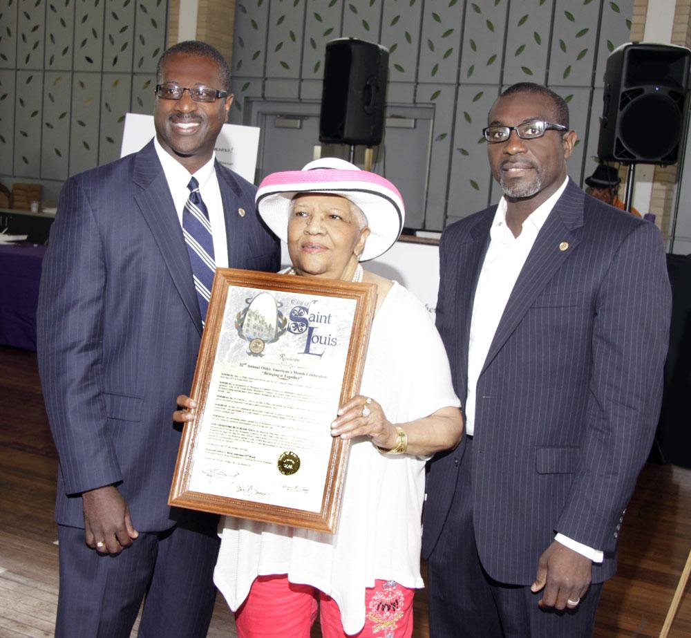 Honoring Ms. Ollie Stewart for Community Service alongside President Lewis Reed