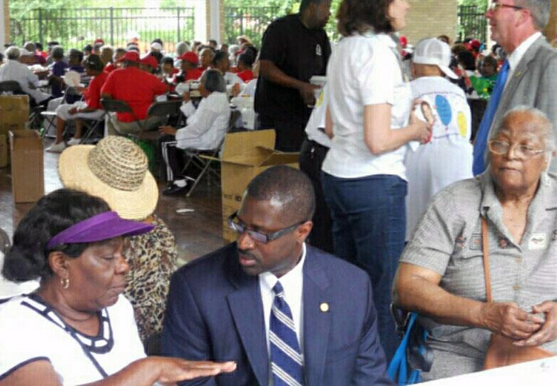 Jeffrey hanging with Senior Citizens