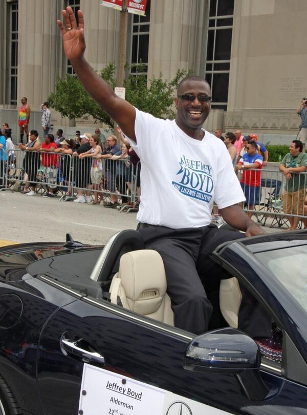 Boyd participating in Pride parade