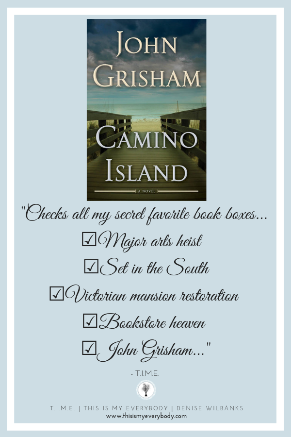 Such a fun read that will have you turning the pages quickly to unravel the mystery. And, after turning the last page, sorry you did not linger a little longer. Camino Island by John Grisham.