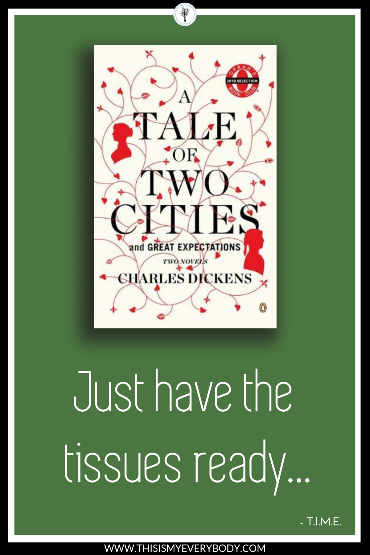 The last few pages completely slay me. When I read this for the first time, I was sobbing, sobbing, sobbing. Just have the tissues ready… A Tale of Two Cities by Charles Dickens