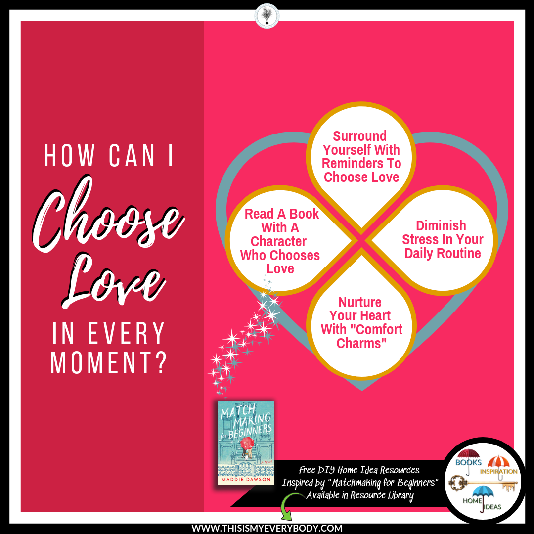 """DIRECTORY - Surround Yourself With Reminders To Choose LoveDiminish Stress In Your Daily RoutineNurture Your Heart With """"Comfort Charms""""Recommended Book: Matchmaking for Beginners by Maddie Dawson""""I Choose Love"""" Free ResourcesConnection Clues"""