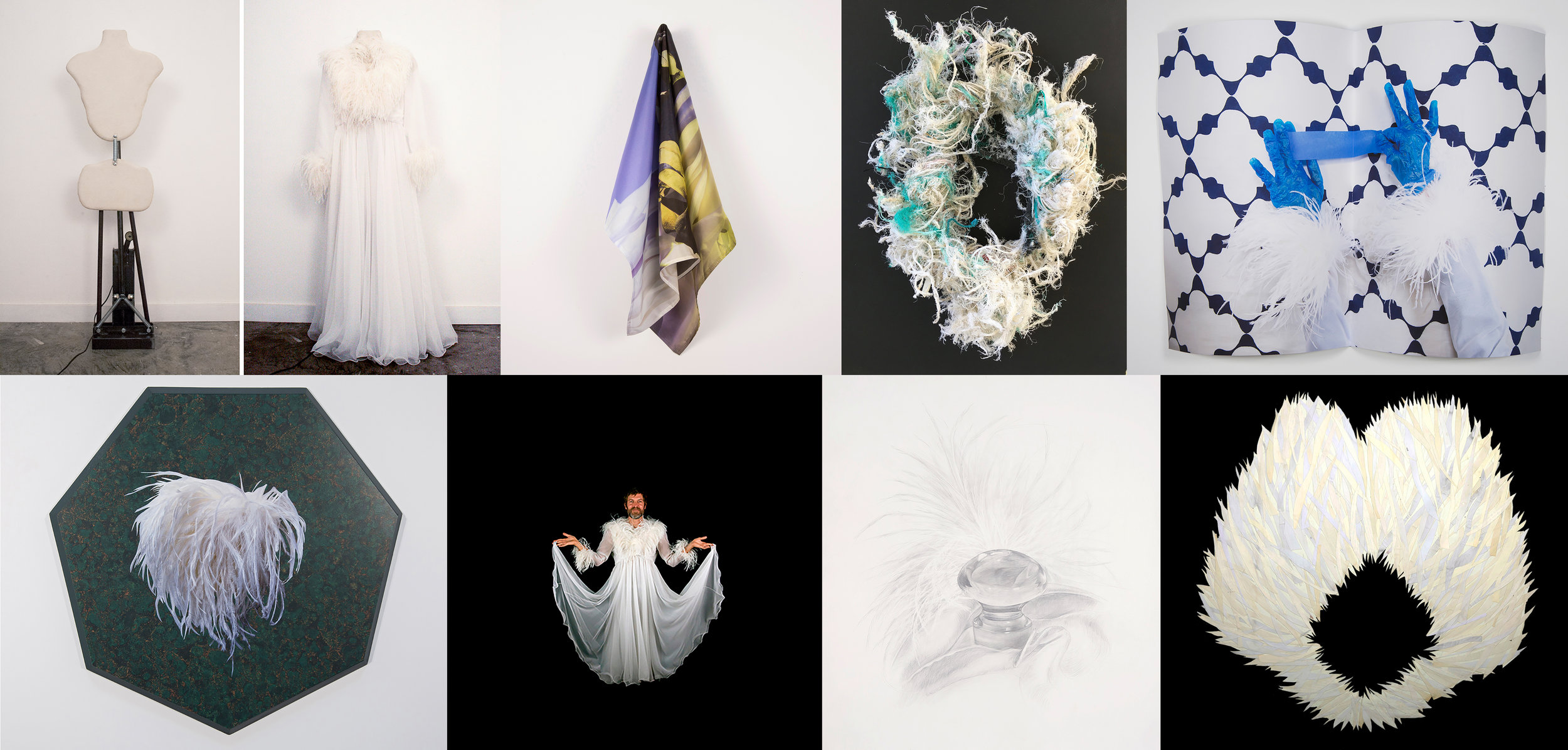 Ostrich Feather Wedding Dress Project work clockwise from top left: Tom Van Houten, Cait Molloy, Judith Selby Lang, Marcela Pardo Ariza, Ray Beldner, Katherine Vetne, Evie Leder, Hadar Kleinman.
