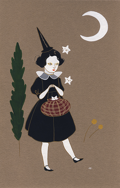 Starry Gifts by Amy Earles.One more little witch before it embarks on a journey to it's new home.